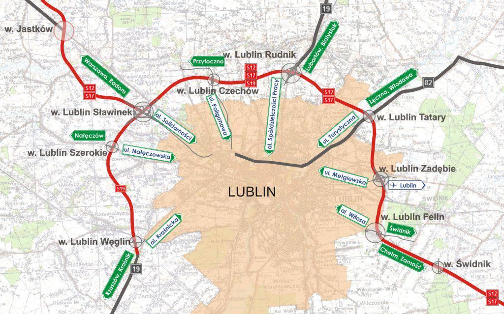 s12 s17 s19 zachodnia obwodnica lublina mapa zjazdy