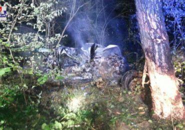 Samochód stanął w płomieniach w lesie w Świdniku