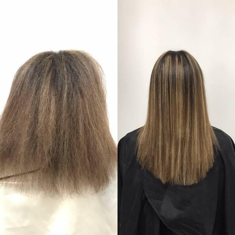 Keratynowe prostowanie włosów - efekt przed i po
