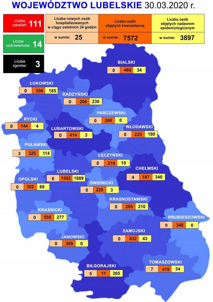 mapa aktualnej sytuacji w województwie lubelskim