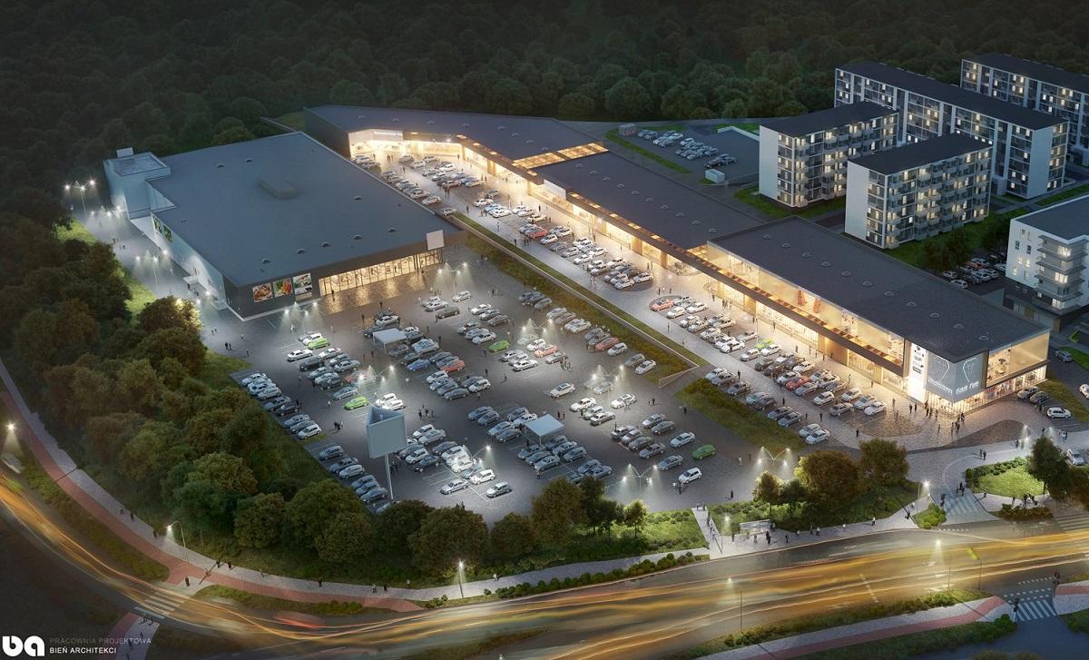 Wizualizacja Retail Park Lublin u zbiegu ul. Wrotkowskiej i ul. Diamentowej | fot. Bień Architekci