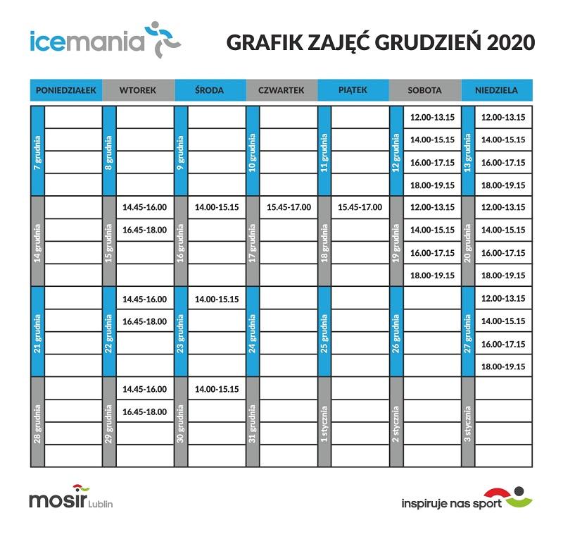 Harmonogram nauki jazdy na łyżwach na lodowisku Icemania - grudzień 2020