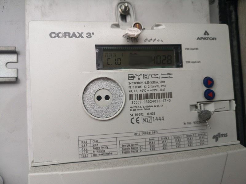 corax 3 apator licznik energii elektrycznej pge