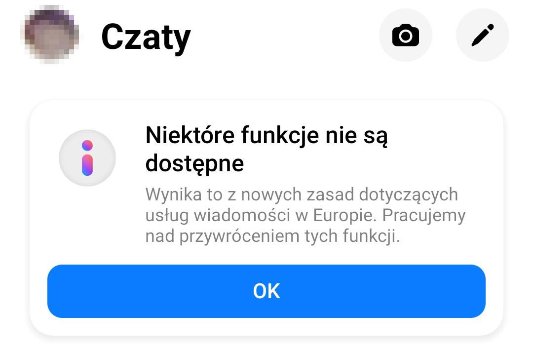 facebook messenger niektóre funkcje nie są dostępne