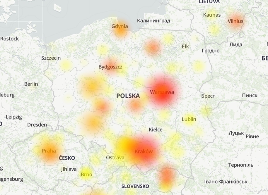 messenger facebook nie działa mapa awaria