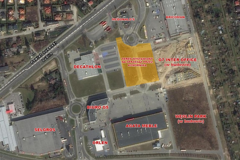 Nieruchomości gruntowe przy McDonald's i Agata Meble wystawione na sprzedaż przez komornika