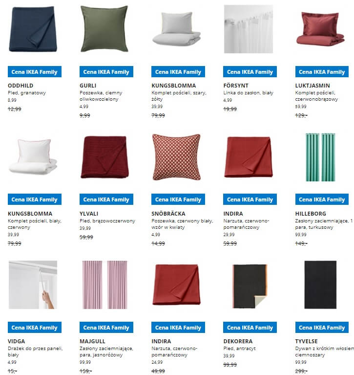 IKEA Lublin wyprzedaż produktów z kategorii Tekstylia