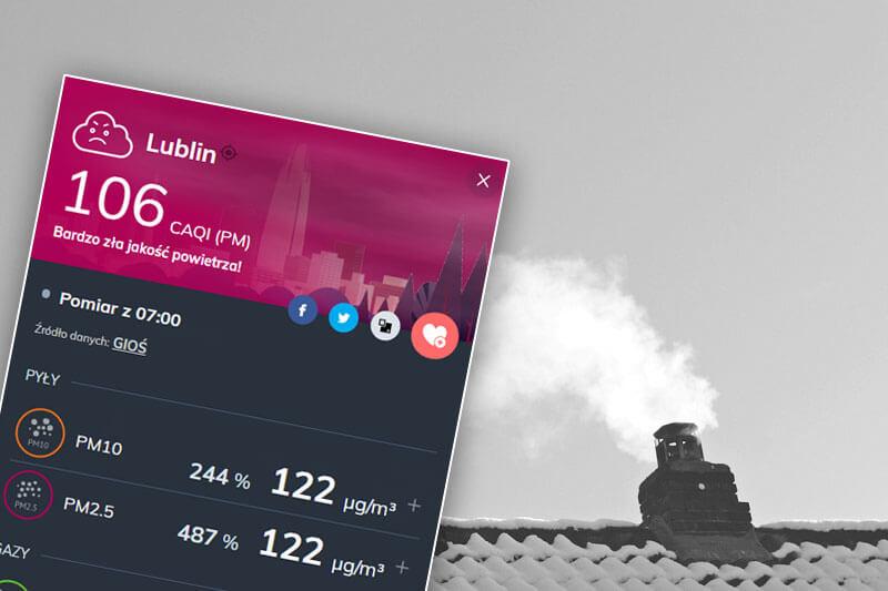 Bardzo zła jakość powietrza w Lublinie   fot. airly, pixabay