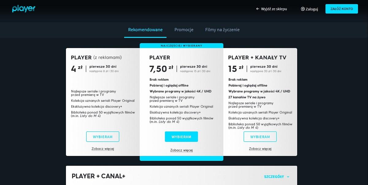Pakiety dostępne w Player.pl