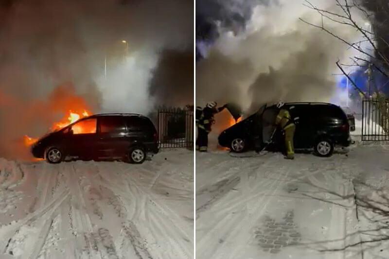 Pożar samochodu w Kalinówce koło Lublina | fot. czytelnik Sławomir