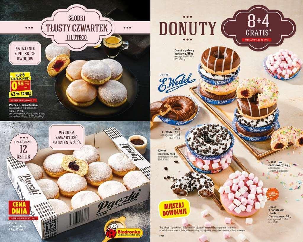 Tłusty czwartek w Biedronce 2021 - promocje na pączki donuty