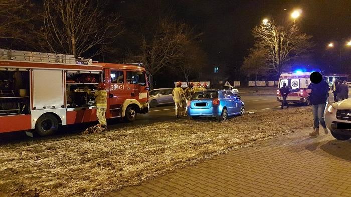 Zderzenie toyoty i seata na ul. Związkowej   fot. KM PSP w Lublinie