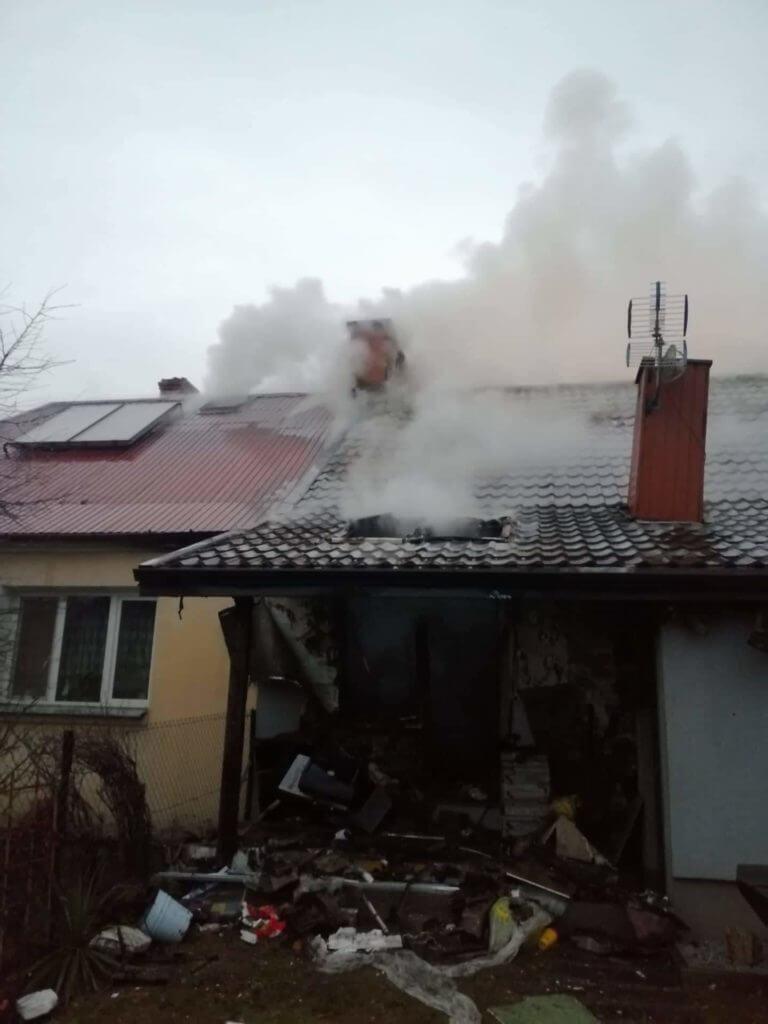 Wybuch gazu w Podedwórzu   fot. KP PSP Parczew