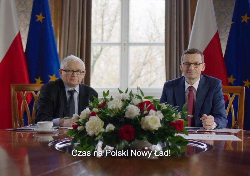 Premier Mateusz Morawiecki i minister Jarosław Kaczyński w spocie promującym program