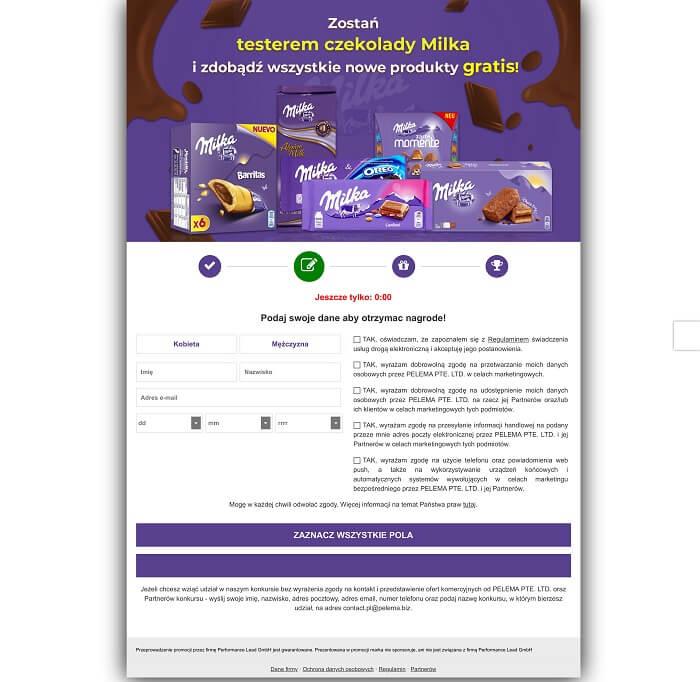Strona formularza Milka
