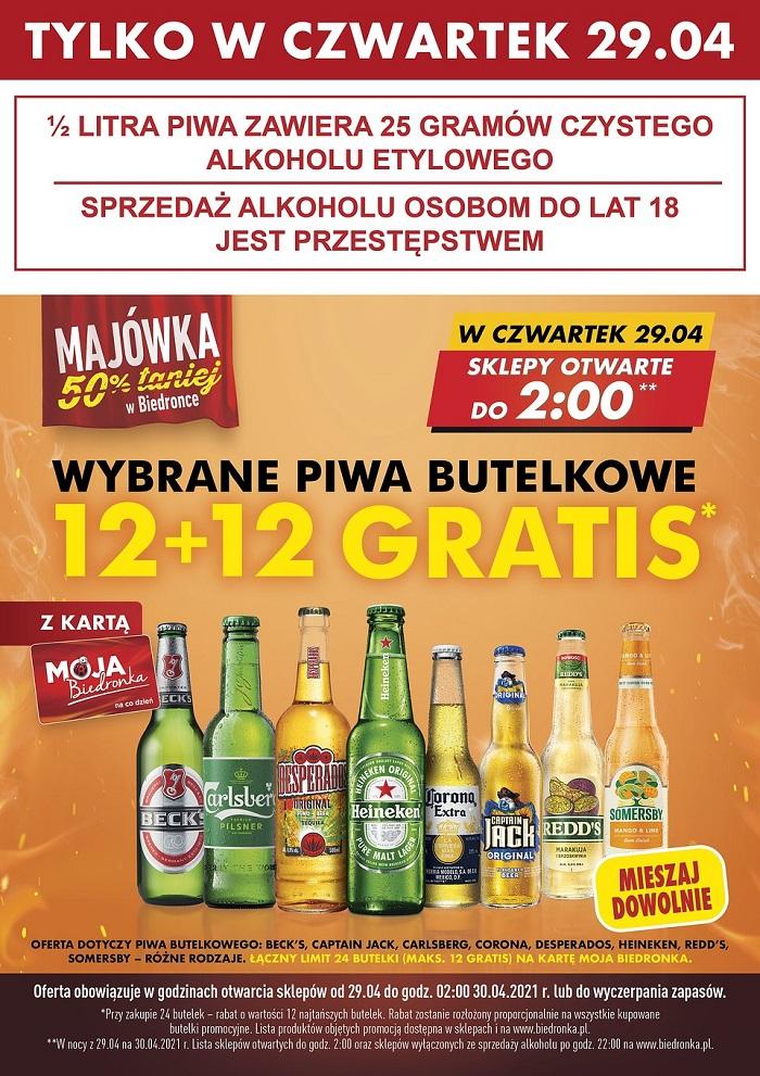 Promocja na piwa 12+12 gratis w Biedronce