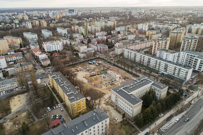 Budowa sali gimnastycznej I LO - widok z góry