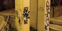 Namalowali graffiti na filarze wiaduktu pod ul. Poniatowskiego w Lublinie