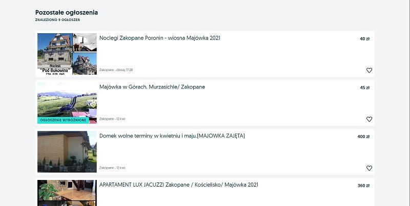 Przykładowe oferty noclegów na majówkę 2021 w Zakopanem