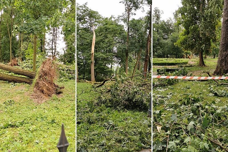 Krajobraz po nawałnicy, jaka przeszła przez Karczmiska w powiecie opolskim