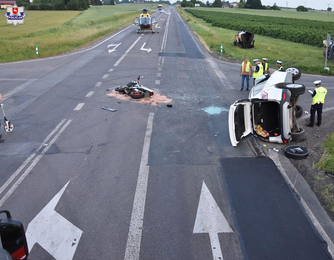 Tragiczny wypadek z udziałem motocyklisty i kierowcy samochodu w Krasnymstawie