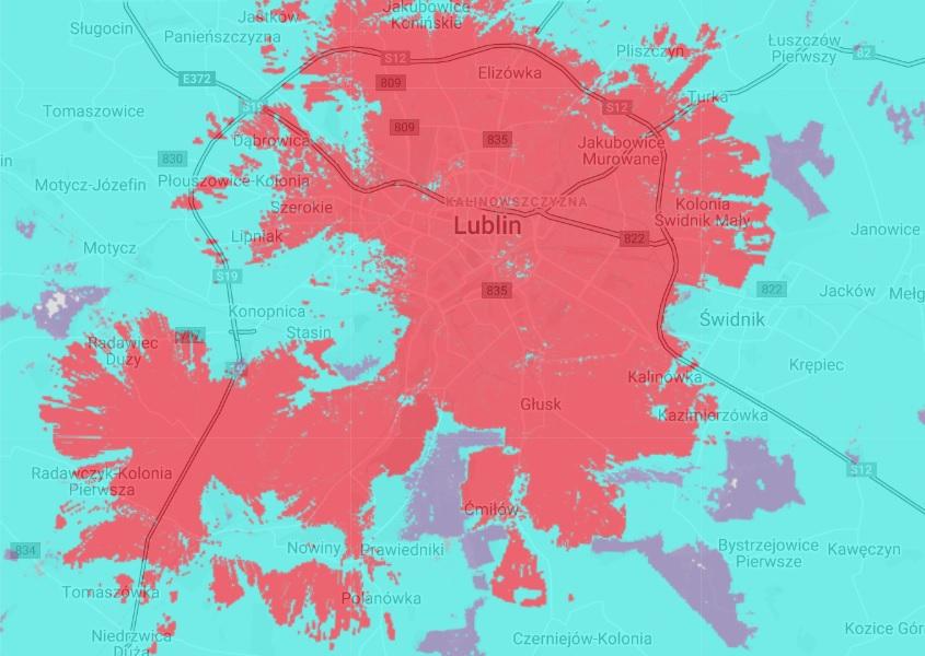 Mapa zasięgu 5G sieci Plus w Lublinie