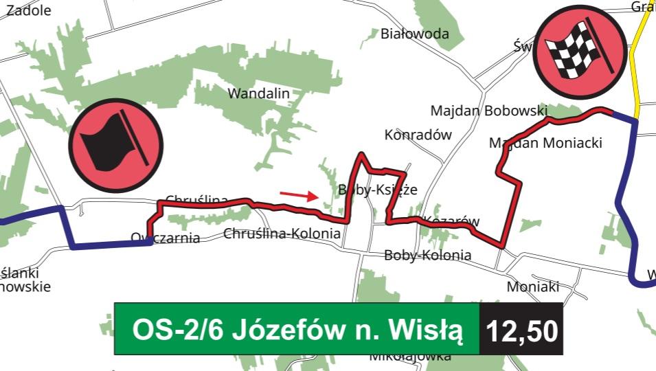 OS Józefów nad Wisłą - trasa przejazdu Rajdu Nadwiślańskiego