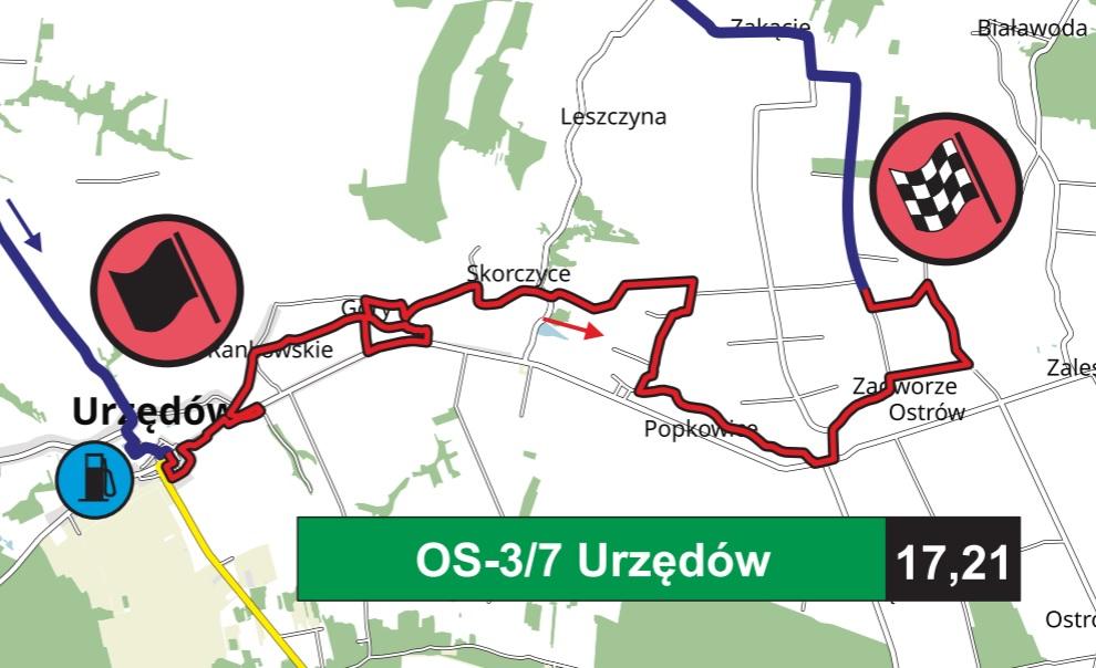 OS Urzędów - trasa przejazdu Rajdu Nadwiślańskiego
