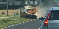 Pożar samochodu na dw747 w Radawcu Dużym