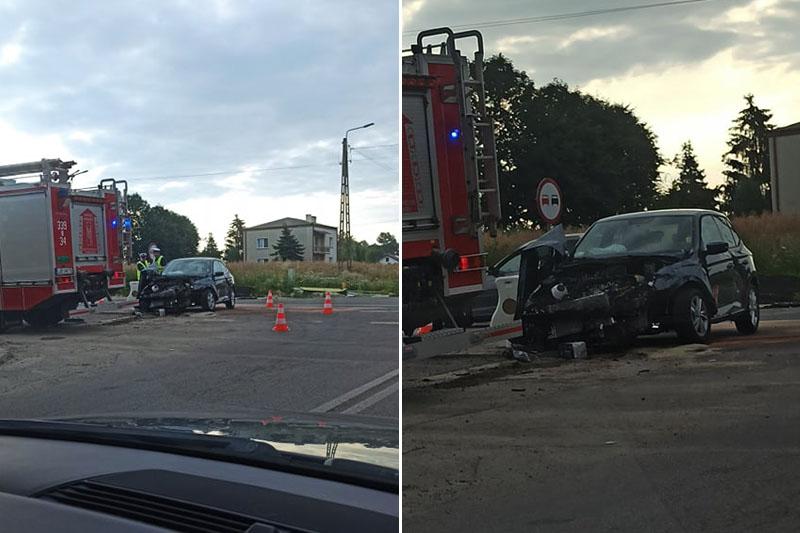 Zderzenie aut na skrzyżowaniu na DK19 w Strzeszkowicach Dużych