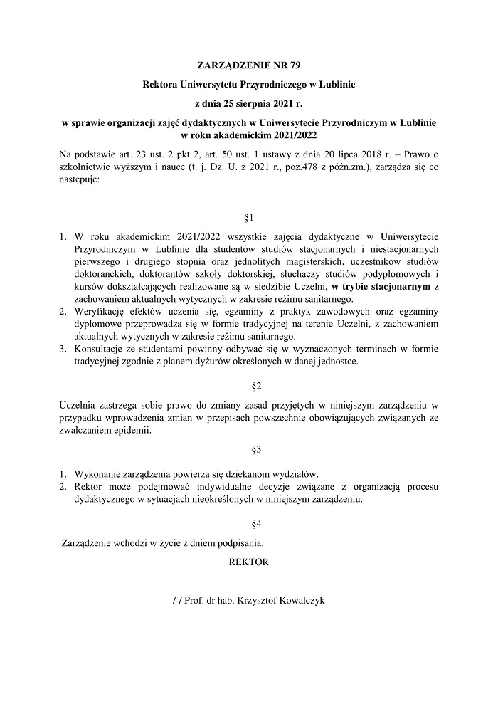 Zarządzenie Rektora Uniwersytetu Przyrodniczego ws. powrotu studentów na uczelnię