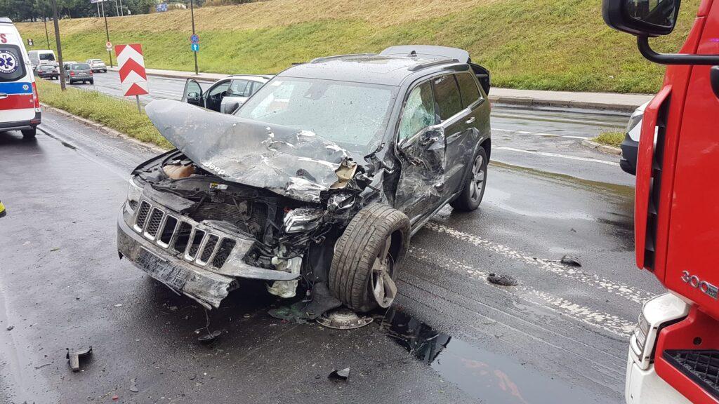 jeep po zderzeniu z volkswagenem na witosa lublin