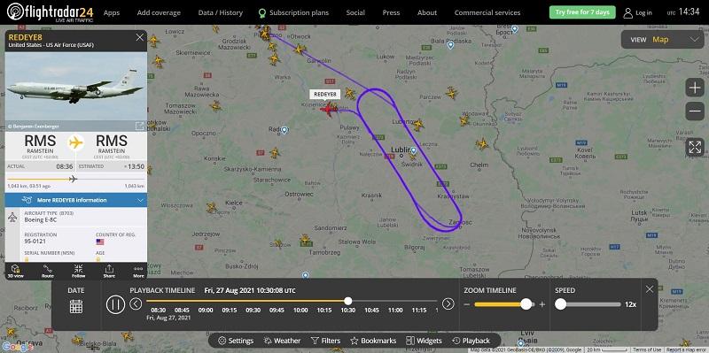 Samolot U.S. Air Force nad województwem lubelskim 27.08.2021