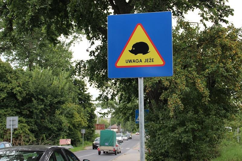 Tabliczka przy ulicy ostrzegająca przed jeżami w okolicy