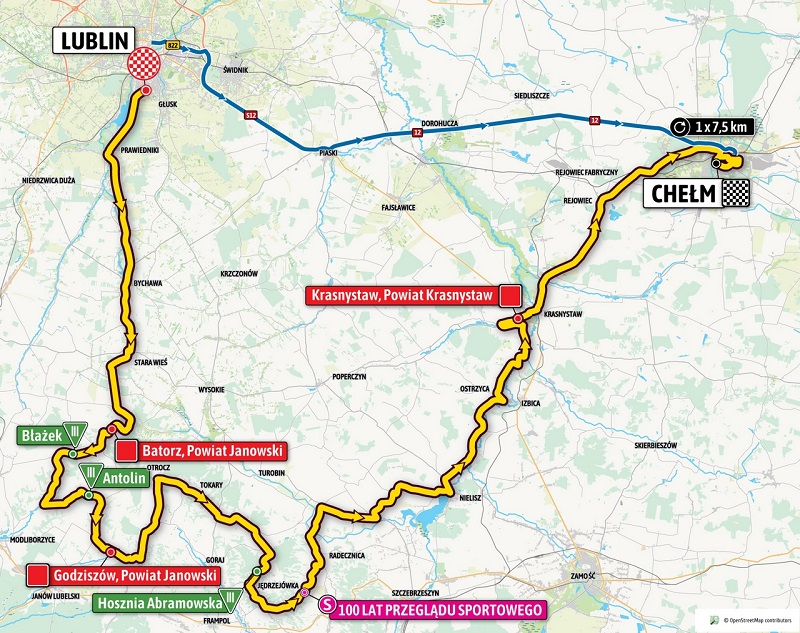 Tour de Pologne Lublin - Chełm - pierwszy etap, trasa, mapa