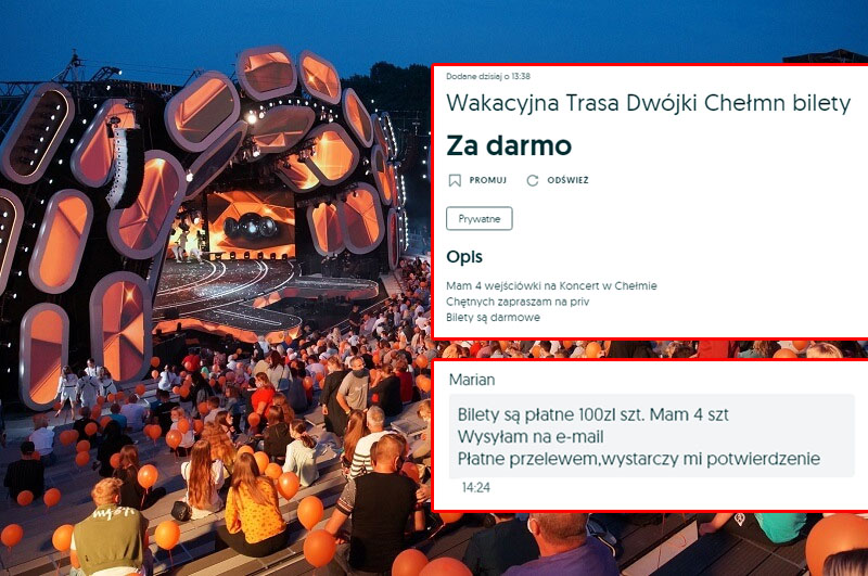Oszuści sprzedają darmowe bilety na koncert Wakacyjnej Trasy Dwójki w Chełmie