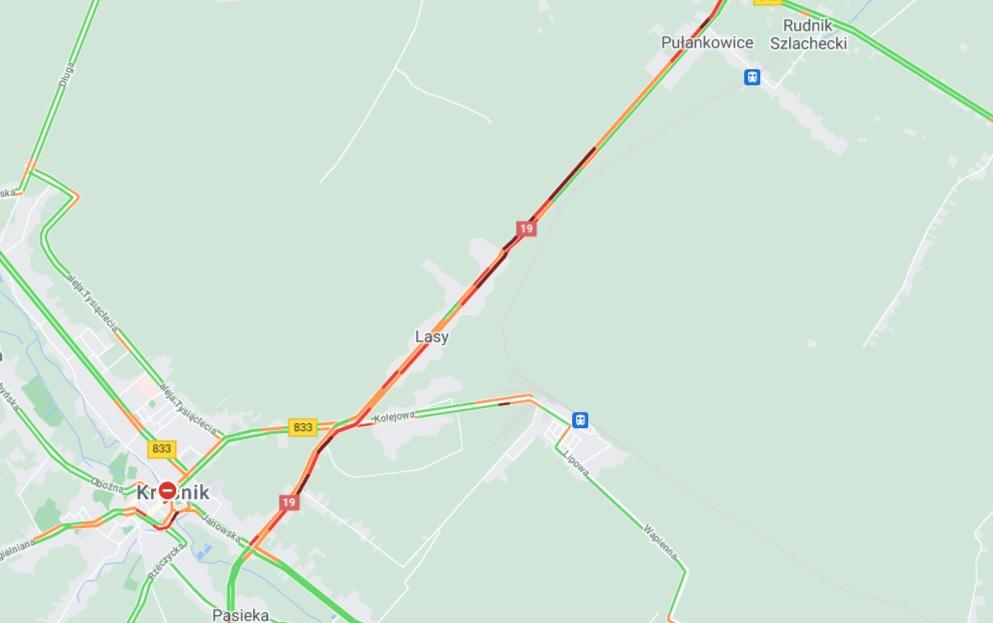 Zablokowana DK19 pod Kraśnikiem po zderzeniu pojazdów w m. Lasy
