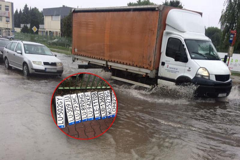 Kierowcy gubią tablice rejestracyjne na zalanej ul. Budowlanej