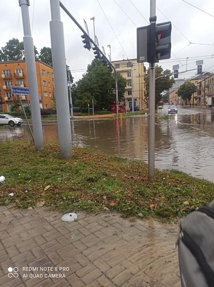 Zalane skrzyżowanie ul. Nadbystrzyckiej i ul. Głębokiej