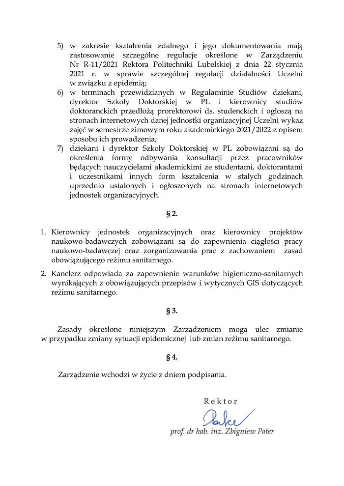 Zarządzenie Rektora Politechniki Lubelskiej ws. powrotu studentów na uczelnię