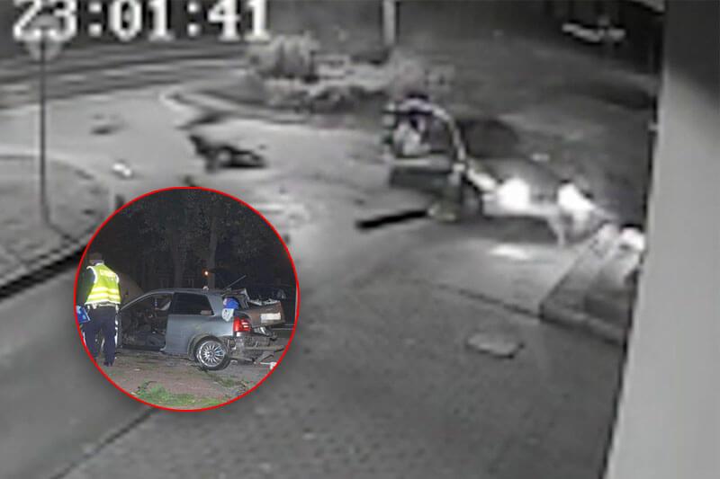 Audi uderzyło w latarnię w Annopolu. Kierowca i pasażerka wypadli z auta