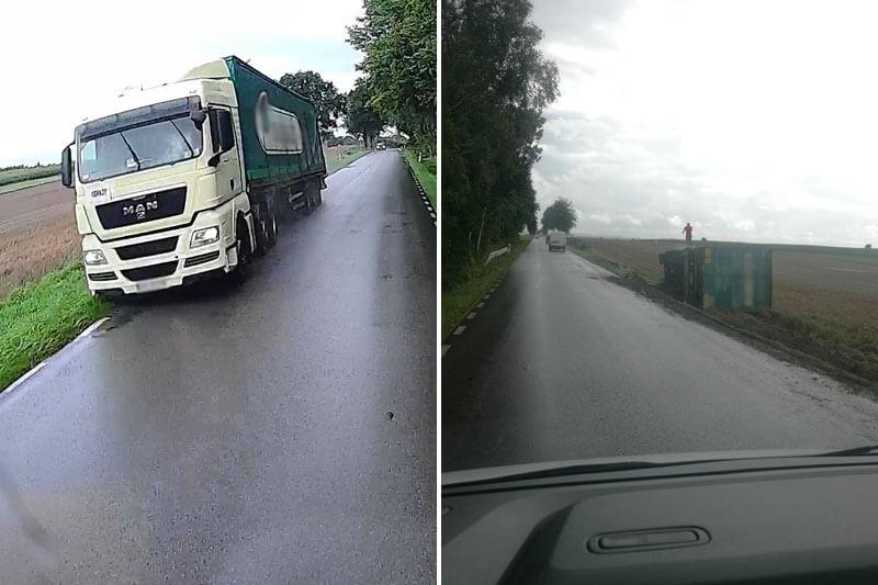 Ciężarówka przewróciła się na bok w miejscowości Łączki-Pawłówek