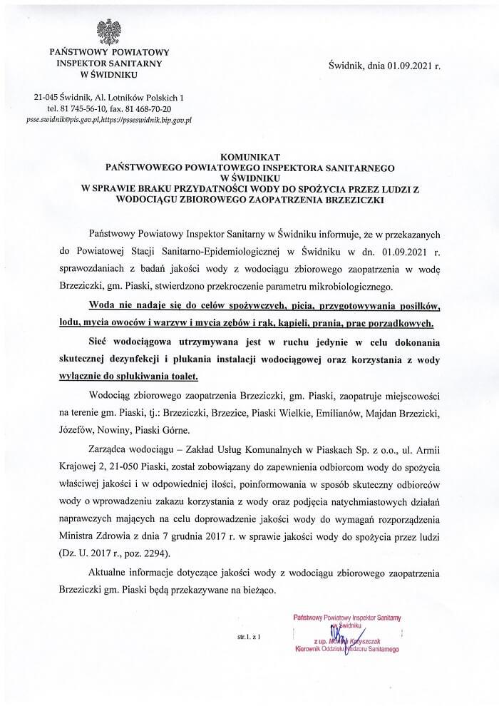 Komunikat PPIS w Świdniku dot. przekroczenia parametrów mikrobiologicznych w wodociągu w Brzeziczkach
