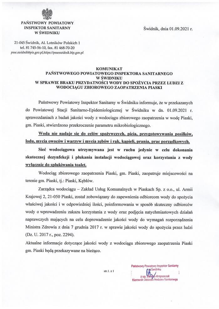 Komunikat PPIS w Świdniku dot. przekroczenia parametrów mikrobiologicznych w wodociągu w Piaskach
