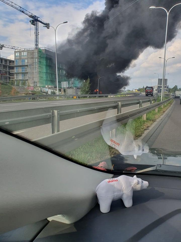 Pożar styropianu na budowie przy ul. Poligonowej w Lublinie