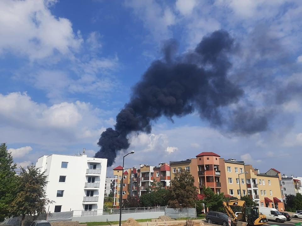 Ciemny dym widoczny nad Lublinem
