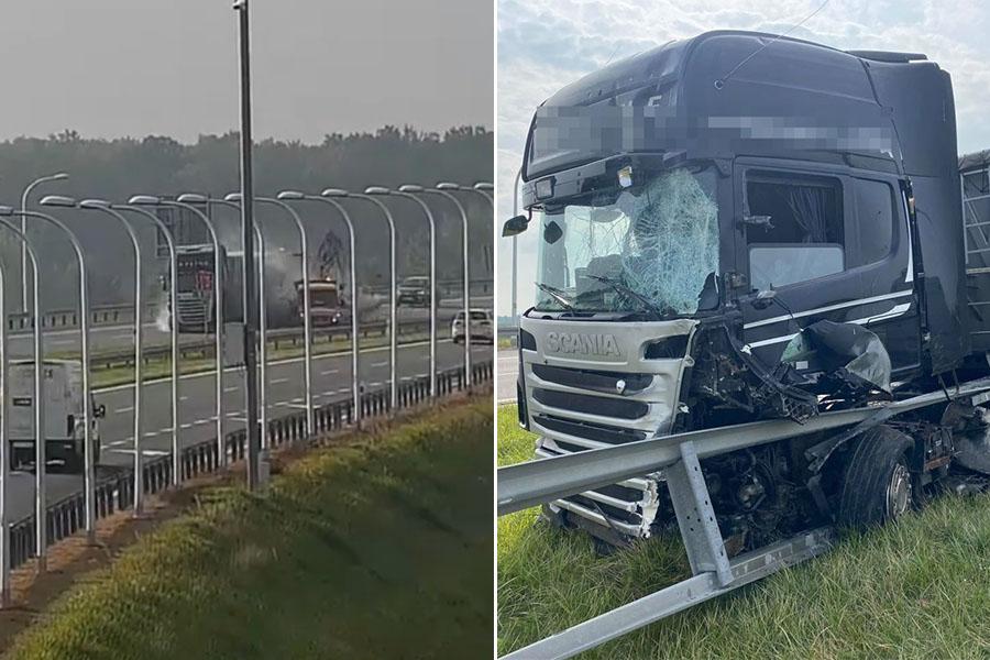 Ciężarówka wjechała w pojazd służb porządkowych na obwodnicy Lublina