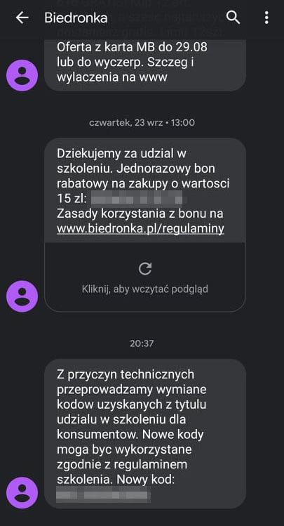 Wiadomość SMS od Biedronka dotycząca akcji wymiany bonów