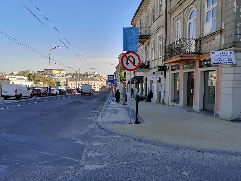 Ulica Lubartowska z nowymi chodnikami