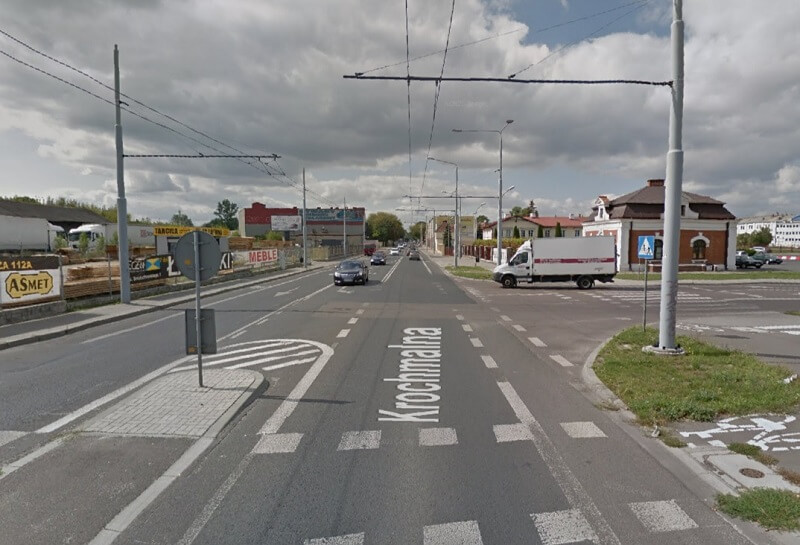 Skrzyżowanie ul. Krochmalnej i ul. Cukrowniczej w Lublinie